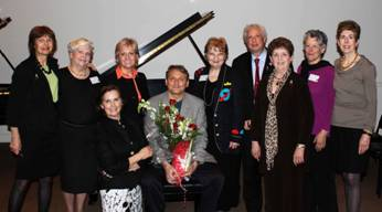 Washington DC Chapter President Celia Josephs with the Piano Master Class Committee: Cici Hughes, Katherine Kyle, Cynthia McDowell, Christopher O'Riley, Susan Merritt Nelsen, Edgar Russell, Carla Jones-Batka, Laura Ivey, and Marilee Sanders